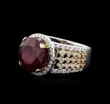 14KT Two-Tone Gold 9.57ct Ruby and Diamond Ring