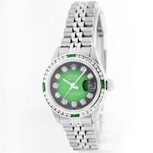 Rolex Stainless Steel 1.00ctw Diamond and Emerald DateJust Ladies Watch