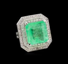GIA Cert 19.14ct Emerald and Diamond Ring - 14KT White Gold
