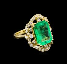 GIA Cert 5.37ct Emerald and Diamond Ring - 14KT Yellow Gold