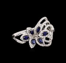 0.61ctw Sapphire and Diamond Ring - 18KT White Gold