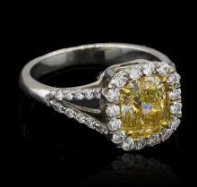 2.59ctw Fancy Yellow Diamond Ring - Platinum