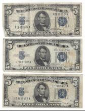 1934 $5 Silver Certificate Currency Lot of 3
