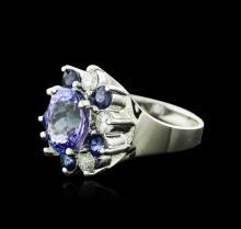 14KT White Gold 2.48ct Tanzanite, Sapphire and Diamond Ring