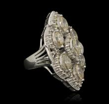 14KT White Gold 6.82ctw Ring & Earring Suite