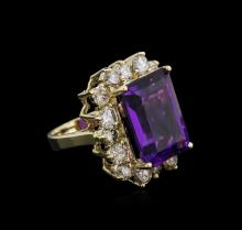 14KT Yellow Gold 10.53ct Amethyst and Diamond Ring