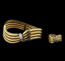 2.12ctw Diamond Ring and Bangle Bracelet Suite - 18KT Yellow Gold