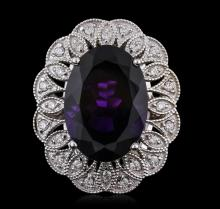 14KT White Gold 11.35ct Amethyst and Diamond Ring