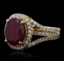 14KT Yellow Gold 5.07ct Ruby and Diamond Ring