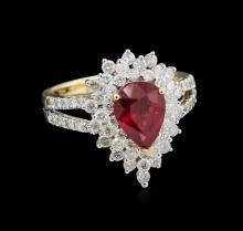 1.86ct Ruby and Diamond Ring - 14KT Yellow Gold