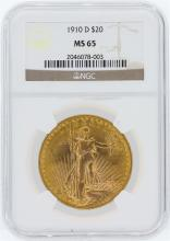 1910-D NGC MS65 $20 St. Gaudens Double Eagle Gold Coin