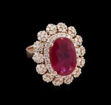 5.87ct Ruby and Diamond Ring - 14KT Rose Gold