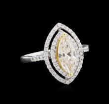 1.37ctw Light Yellow Diamond Ring - 18KT White Gold