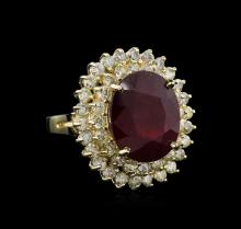12.41ct Ruby and Diamond Ring - 14KT Yellow Gold