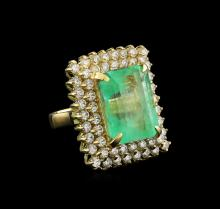 GIA Cert 19.72ct Emerald and Diamond Ring - 14KT Yellow Gold