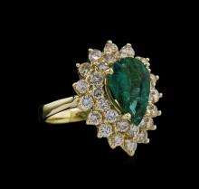 14KT Yellow Gold 2.27ct Emerald and Diamond Ring