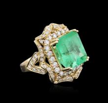 14KT Yellow Gold GIA Certified 10.21ct Emerald and Diamond Ring