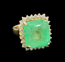 GIA Cert 11.71 ctw Emerald and Diamond Ring - 14KT Yellow Gold