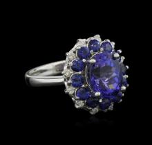 3.56 ctw Tanzanite, Sapphire and Diamond Ring - 14KT White Gold