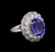 4.78 ctw Tanzanite and Diamond Ring - 14KT White Gold