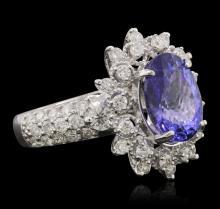 14KT White Gold 4.30 ctw Tanzanite and Diamond Ring