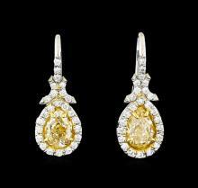 EGL USA Cert 2.62 ctw Fancy Yellow Diamond Earrings - Platinum