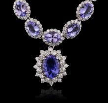 14KT White Gold 35.22 ctw Tanzanite and Diamond Necklace