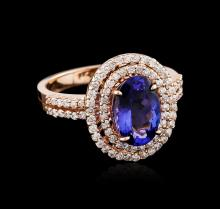 2.35 ctw Tanzanite and Diamond Ring - 14KT Rose Gold