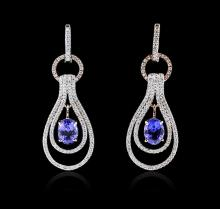 14KT Two-Tone Gold 2.64 ctw Tanzanite and Diamond Earrings