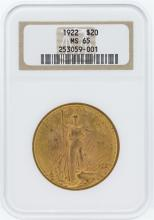 1922 NGC MS65 $20 St. Gaudens Double Eagle Gold Coin