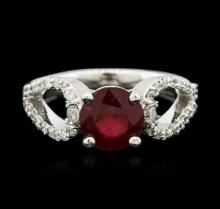 14KT White Gold 2.05ct Ruby and Diamond Ring
