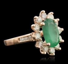 14KT Rose Gold 2.66ct Emerald and Diamond Ring