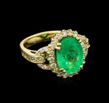 4.80ct Emerald and Diamond Ring - 14KT Yellow Gold