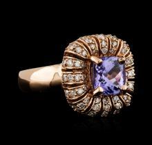 14KT Rose Gold 1.68ct Tanzanite and Diamond Ring