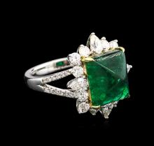 6.53ct Emerald and Diamond Ring - 18KT Two-Tone Gold