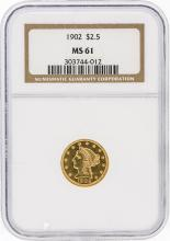 1902 NGC MS61 $2.50 Liberty Head Quarter Eagle Gold Coin