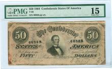 1864 $50 CSA Bank Note T-66 PMG Choice Fine 15