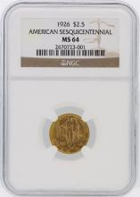 1926 NGC MS64 $2.50 American Sesquicentennial Gold Coin