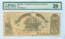 1861 $20 CSA Bank Note T-18 PMG Very Fine 20