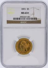 1893 NGC MS63+ $5 Liberty Head Half Eagle Gold Coin