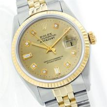 Rolex Two-Tone Diamondand BaguetteDateJust Men's Watch