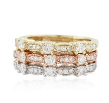 14KT Yellow, White, And Rose Gold 0.80ctw Diamond Rings