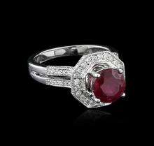 18KT White Gold 2.87ct Ruby and Diamond Ring