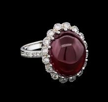 15.71 ctw Ruby and Diamond Ring - 14KT White Gold