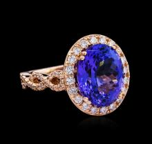 7.15 ctw Tanzanite and Diamond Ring - 14KT Rose Gold