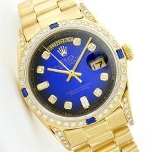 Rolex President 18KT Gold 1.00 ctw Diamond And Sapphire Men's Watch