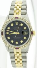 Rolex Two-Tone 1.00 ctw Diamond and Ruby DateJust Men's Watch