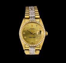 Rolex 14KT Yellow Gold 4.00 ctw Diamond Date Men's Watch