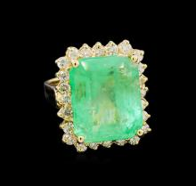 GIA Cert 13.93 ctw Emerald and Diamond Ring - 14KT Yellow Gold