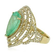 14KT Yellow Gold GIA Certified 7.70ct Emerald and Diamond Ring